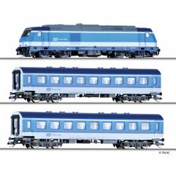 TT startovací set s lokomotivou traxx + 2x osobní vůz ČD