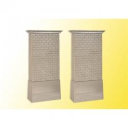 H0 cihlový sloupový mostní pilíř s betonovou základnou 2 kusy