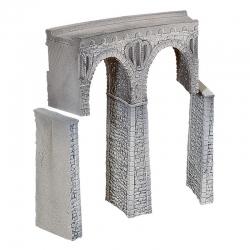H0 kamenný viadukt z lomového kamene -do oblouku-