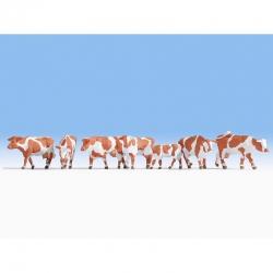H0 krávy hnědo-bílé 7 figurek