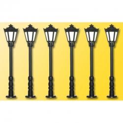 H0 parková lampa LED osvětlení 6 kusů 56 mm