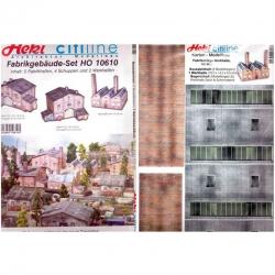 H0 fotorealistická kartonová stavebnice továrních hal -CityLine-