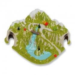 H0 tunel s jezerem a lávkou do oblouku-jednokolejný-