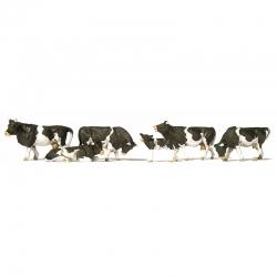 H0 krávy strakaté černobílé 6 figurek