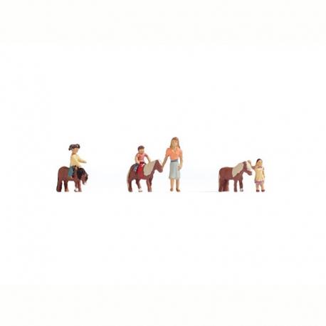 H0 poníci s dětmi 7 figurek