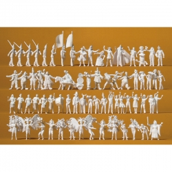 H0 nebarvené figurky - karneval - 68 figurek