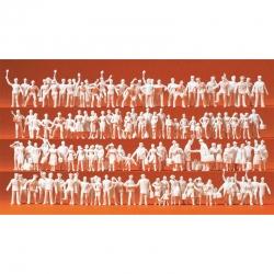 H0 nebarvené figurky -železniční personál a cestující- 120 figurek