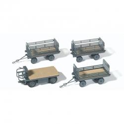 H0 elektrický vozík + 3 přívěsné vozíky