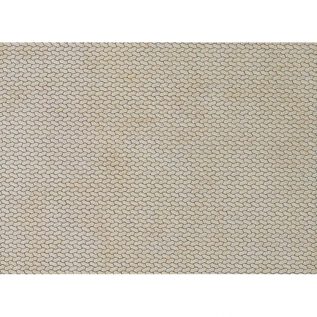 H0 papírová dekorační deska s plastickým motivem -chodník -zámková dlažba-