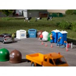H0/TT mobilní toalety a kontejnery na tříděný odpad