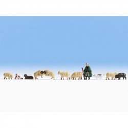 TT pastýř a ovce 9 zvířátek a 2 figurky