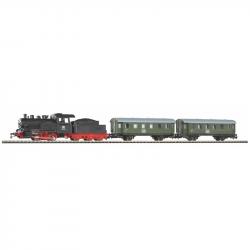 H0 startovací set s parní lokomotivou a osobními vozy DB