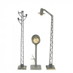 H0 osvětlené hodiny + 2x oblouková lampa