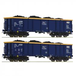 H0 - set dvou vysokostěnných vozů Eaos s uhlím ep.VI