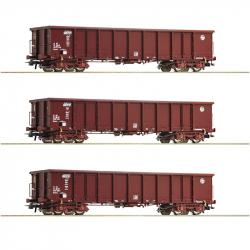 H0 - set tří otevřených vozů Eanos HŽ Cargo ep.VI