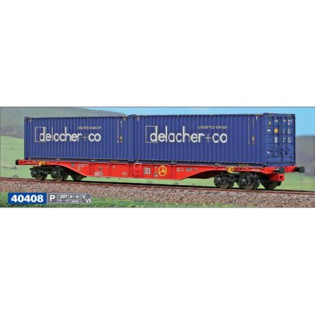 H0 - Kontejnerový vůz Sgnss '60 DB se dvěma velkoobjemovými kontejnery Delacher + Co