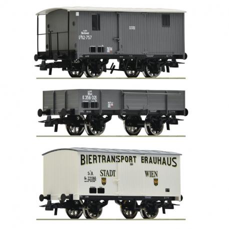 H0 - set tří nákladních vozů  kkStB ep.I